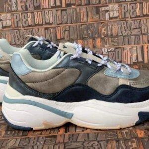 sneakers piele naturala metalic blue