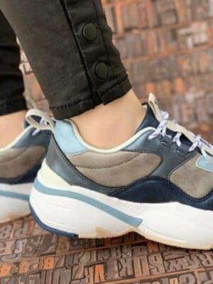 sneakers piele naturala metalic blue2
