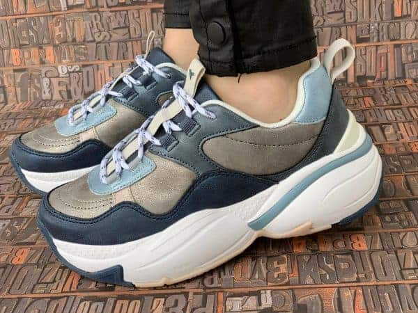 sneakers piele naturala metalic blue3