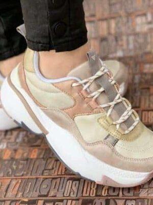 sneakers piele naturala metalic nud2