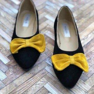 balerini piele naturala bow yellow