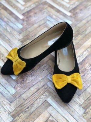balerini piele naturala bow yellow2