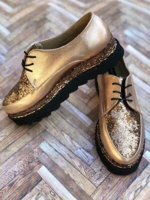 pantofi piele naturala glamour brown