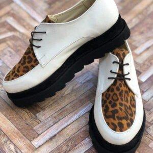 pantofi piele naturala madeline animal print