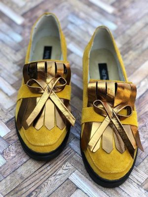 pantofi piele naturala romantic yellow