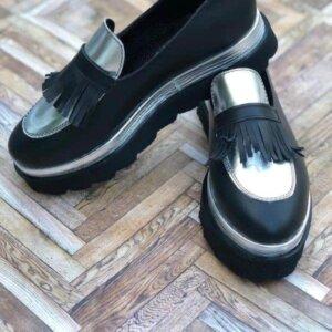 pantofi piele naturala silver touch