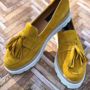 pantofi piele naturala yellow summer