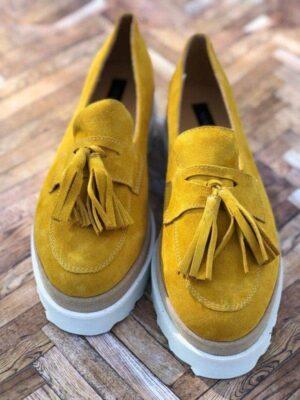 pantofi piele naturala yellow summer2