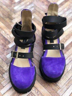 sandale piele naturala rock glamour purple