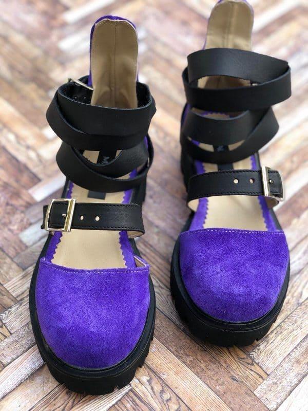 sandale piele naturala rock glamour purple2