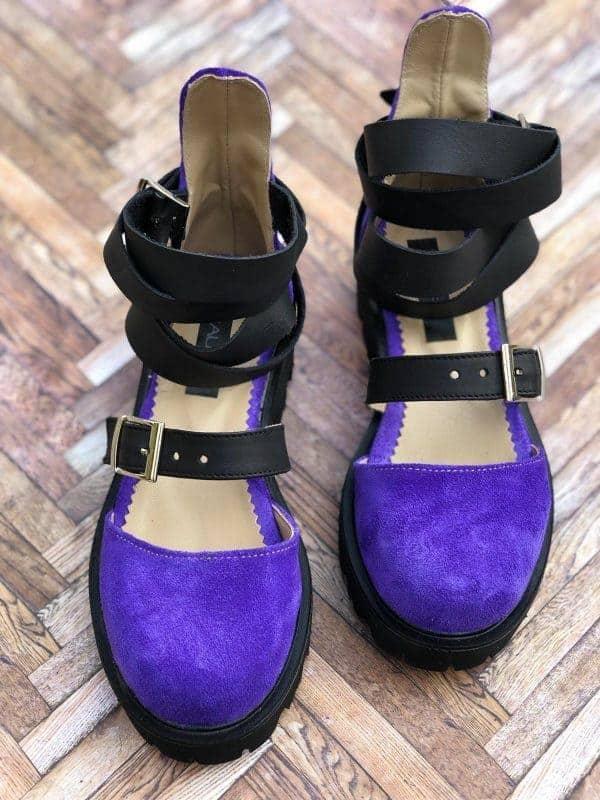 sandale piele naturala rock glamour purple6