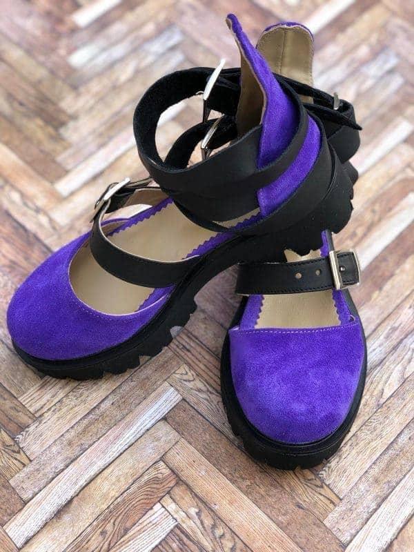 sandale piele naturala rock glamour purple9