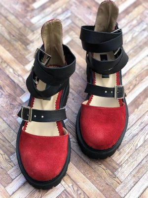 sandale piele naturala rock glamour red2