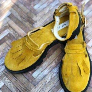 sandale piele naturala yellow