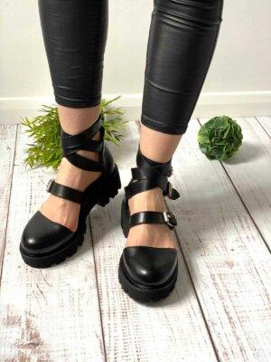 pantofi piele naturalarock glamour all black