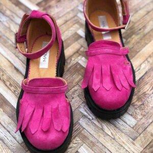 sandale piele naturala pink