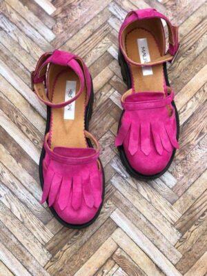 sandale piele naturala pink2