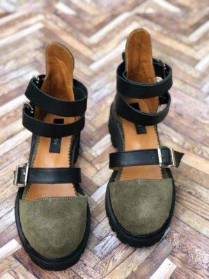 sandale piele naturala rock glamour army