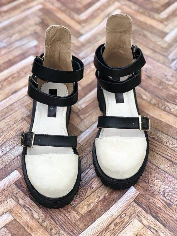 sandale piele naturala rock glamour biege