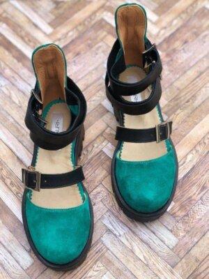 sandale piele naturala rock glamour green