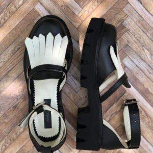 sandale piele naturala black and white