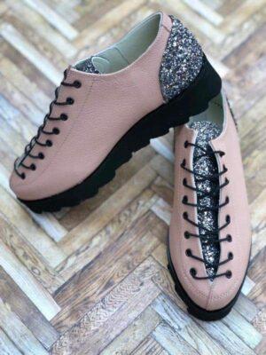 pantofi piele naturala nina glitter rose2
