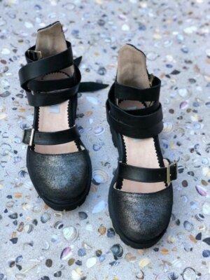 sandale piele naturala rock glamour glitter