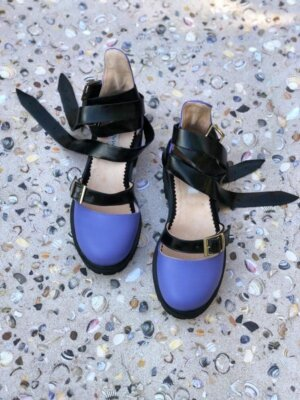 sandale piele naturala rock glamour rock purple