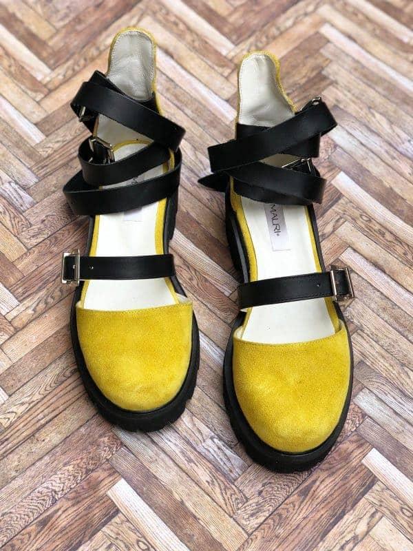 sandale piele naturala rock glamour yellow