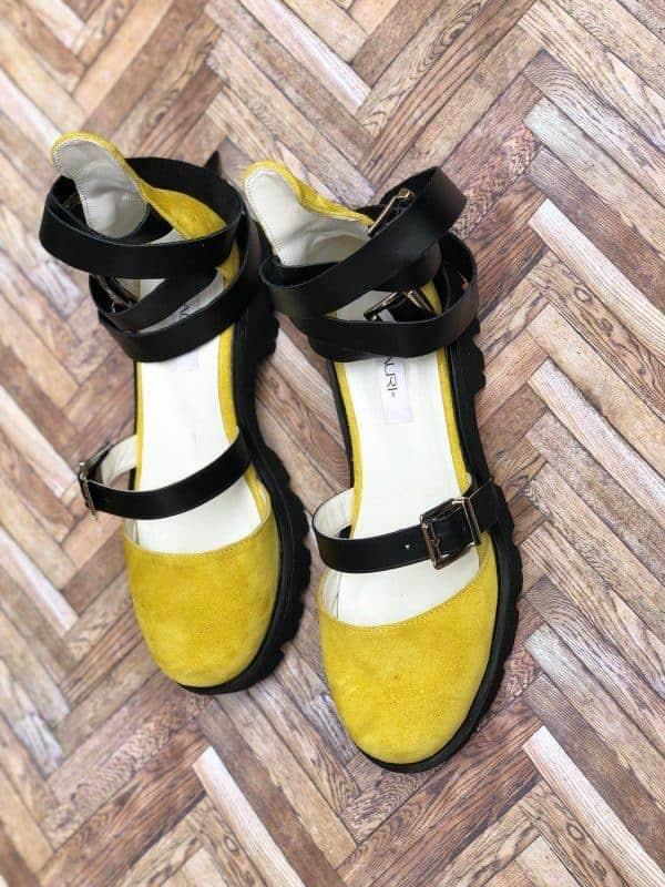 sandale piele naturala rock glamour yellow3