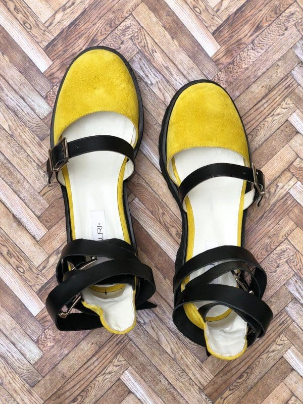 sandale piele naturala rock glamour yellow5