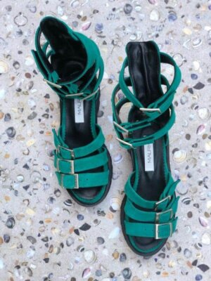 sandale piele naturala sparkle green