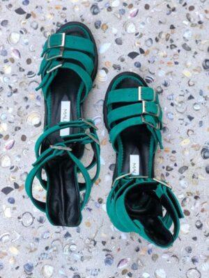 sandale piele naturala sparkle green2