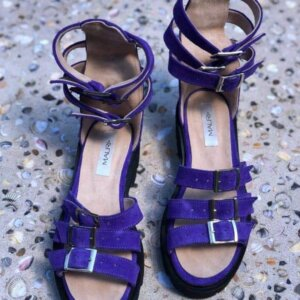 sandale piele naturala sparkle purple