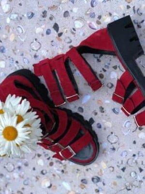 sandale piele naturala sparkle red
