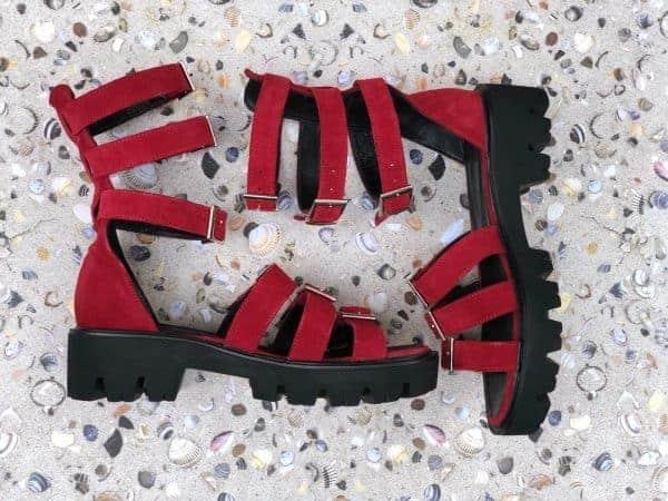sandale piele naturala sparkle red5