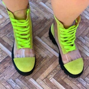 ghete piele naturala invisible green