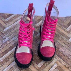 ghete piele naturala invisible pink