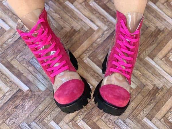 ghete piele naturala invisible pink7