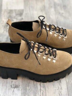 pantofi piele naturala camila