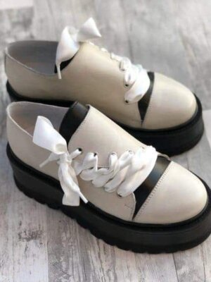 pantofi piele naturala juliet off white