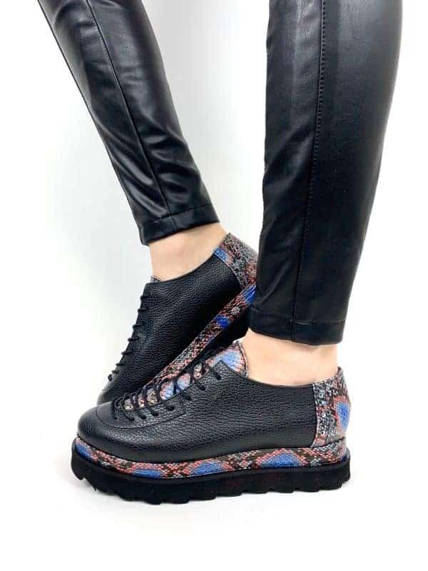 pantofi piele naturala oscar snake marin