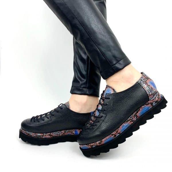 pantofi piele naturala oscar snake marin2