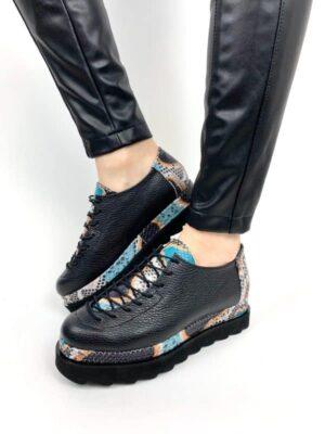 pantofi piele naturala oscar snake orange2