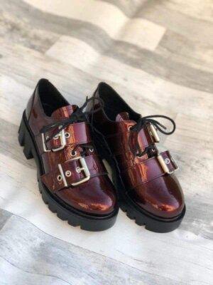 pantofi piele naturala ximena violet