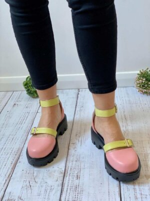 pantofi piele naturala luiza strawberry pink