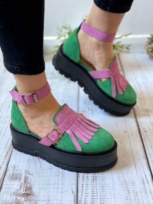 pantofi pielea naturala nora green&purple