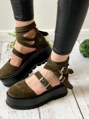pantofi piele naturala kayla army (4)