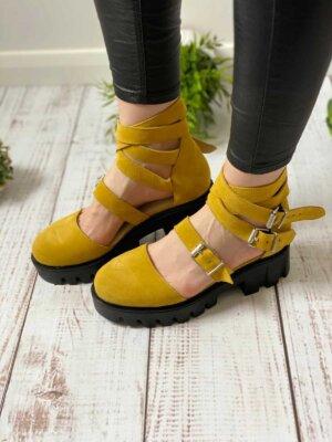 pantofi piele naturala rock glamour yellow