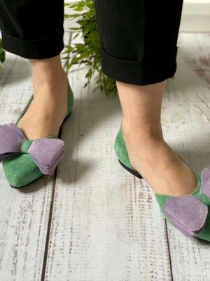 balerini din piele naturala daria office green (3)